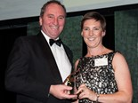 2014 Rural Women's award winner Pip Job receiving the prestigious accolade from Minister for Agriculture Barnaby Joyce.