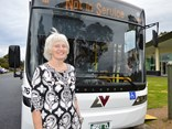 Latrobe Valley Bus Lines managing director Rhonda Renwick with the new Volvo Euro 6
