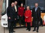 Transdev managing director Harry Wijers, City of Whittlesea Mayor Stevan Kozmevski, counillor Kris Pavlidis, State Member for Thomastown Bronwyn Halfpenny, and PTV acting head of operations & performance Geoffroy Denis