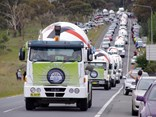 The 2015 Convoy for Cancer Families makes its way along Canberra Avenue.