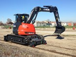 An ECM ES95HR excavator fitted with the Rosenqvist Hy-Rail system.
