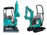 Kobelco's new SK17SR (left) and SK008 mini excavators.