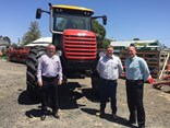 From left, Fieldquip's Mark Druery, Steve Millar and Andrew Cockerill with the Kelland Multidrive M420XT which has 3.0m wheel centres