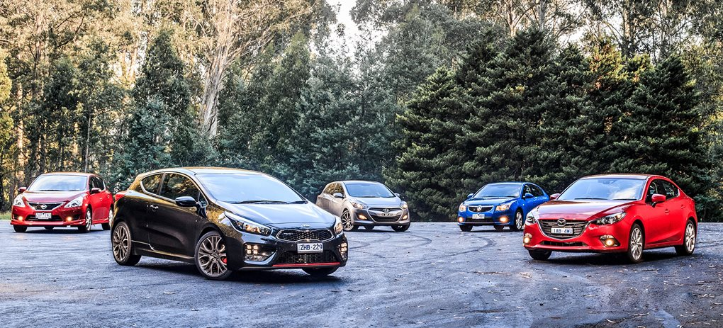 Kia Proceed GT vs Mazda 3 SP25 vs Hyundai i30 SR vs Holden Cru