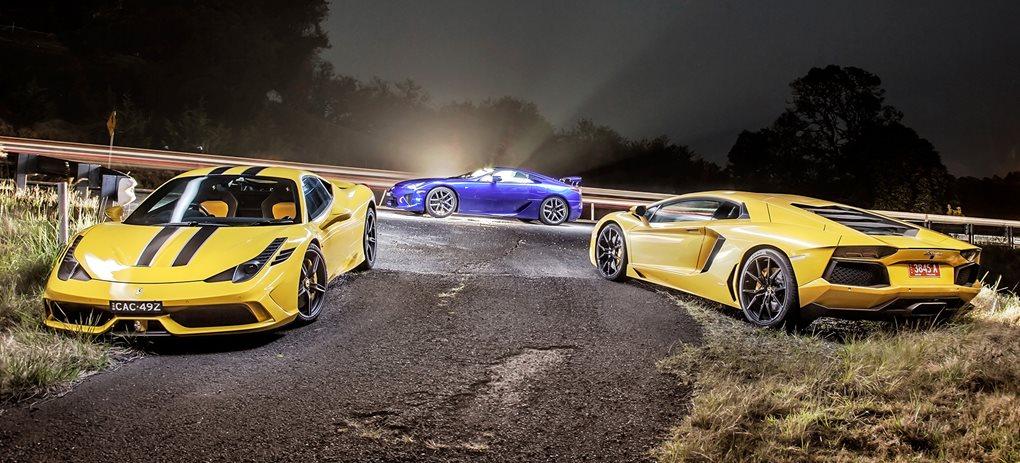 Lexus LFA, Ferrari 458 Speciale, Lamborghini Aventador