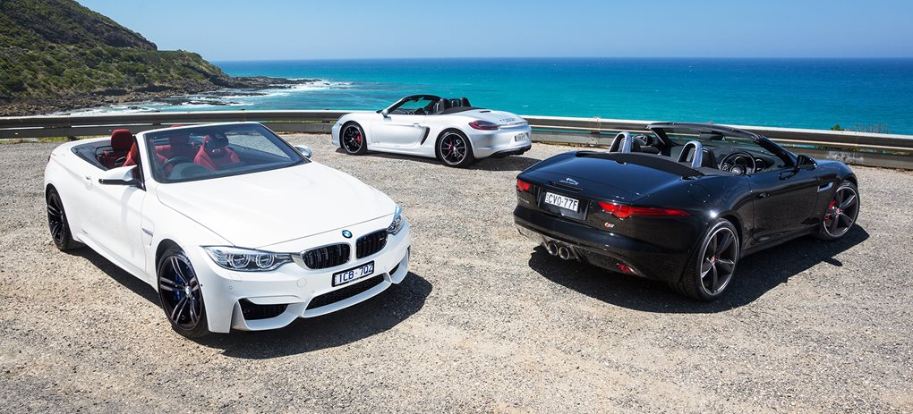 BMW M4 Convertible vs Jaguar F-Type V6 S vs Porsche Boxster GTS