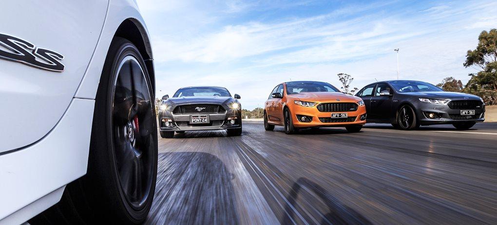 Holden SS-V Redline vs Ford Falcon Sprints vs Ford Mustang GT
