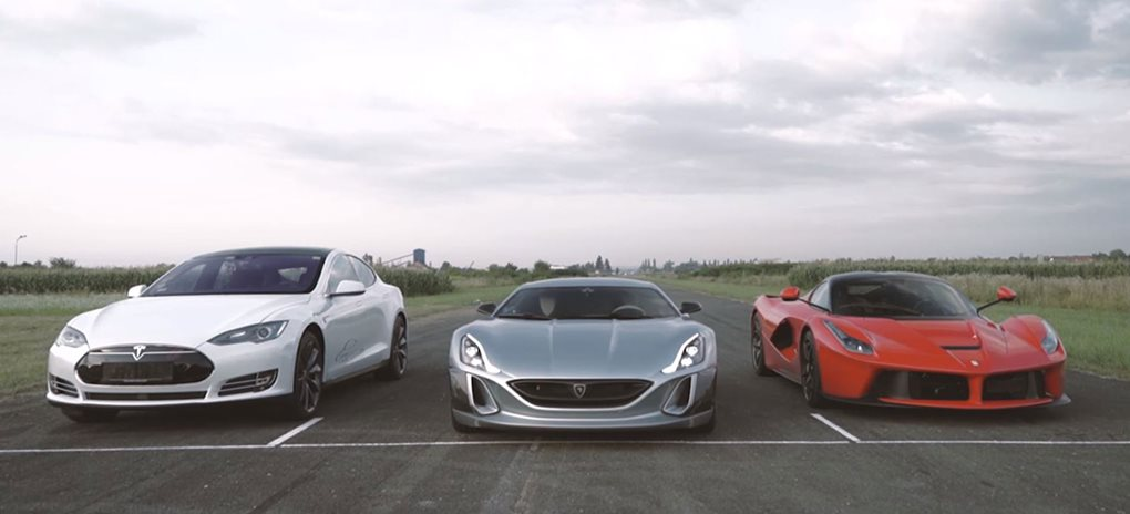 Rimac electric supercar drag race