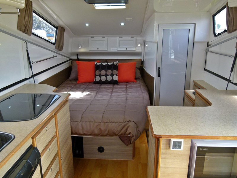 Model Looking To Shape And Shake The Future Of The Luxury Offroad Caravan Industry, The Lotus Caravans Tremor Camping Trailer $65K  A Full Dry Bathroom With Ceramic Toilet, Sink, Shower, And Even A Washing Machine Power Is Stored