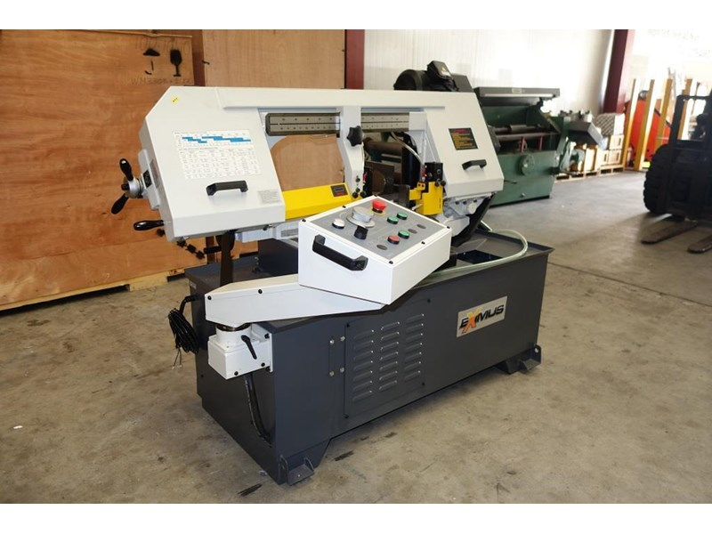 eximus taiwanese semi-automatic ø330mm capacity double mitre bandsaw 437668 002