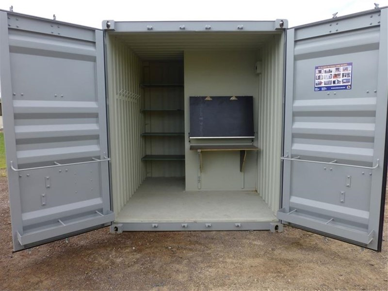 "10"" shipping container builders combo 10` shipping container - toilet - storage - bench 499211 001"
