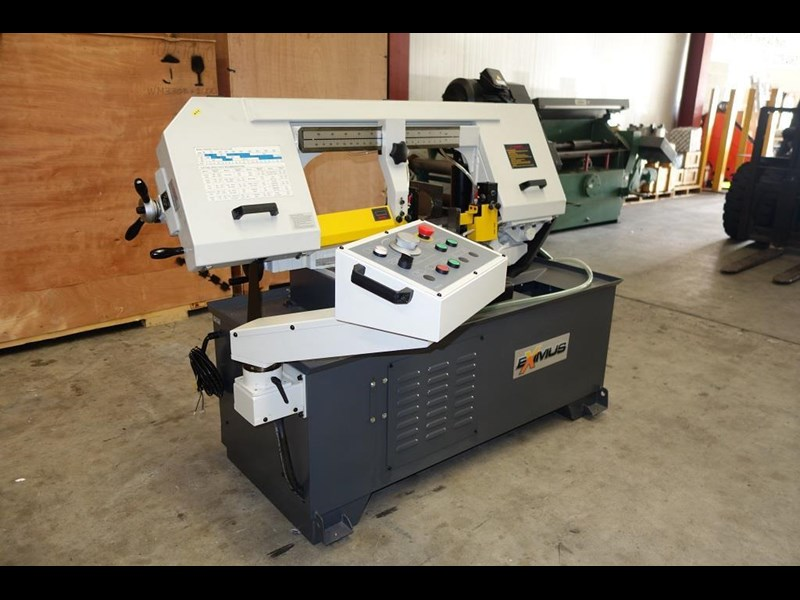 eximus taiwanese semi-automatic ø330mm capacity double mitre bandsaw 437668 003