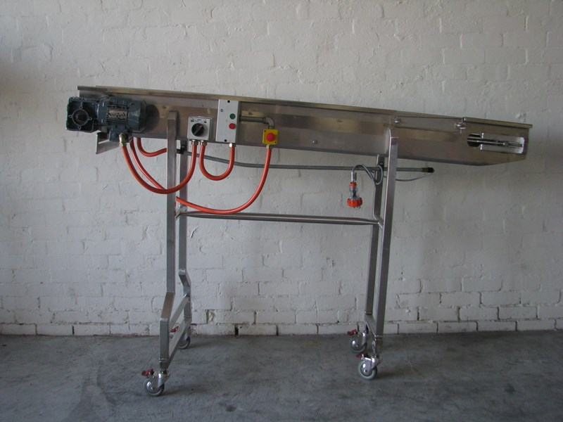 contech engineering lms stainless steel tall motorised conveyor - 2m long 469259 001