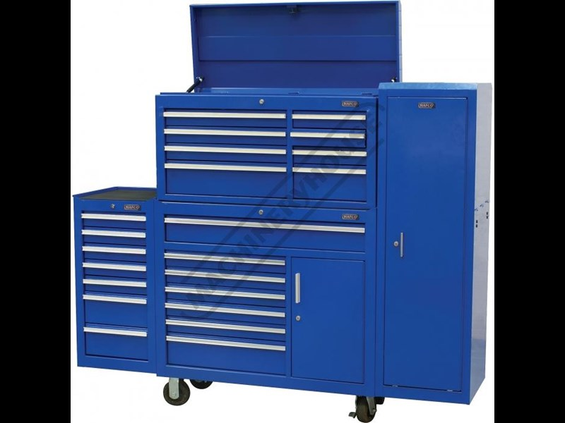tool chests ich-8d + irc-7d + isl-2d + isc-7d - industrial series tool chest & roller cabinet with side locker & side cabinet package 109016 003