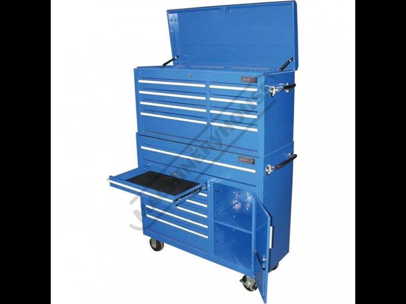 tool chests ich-8d + irc-7d + isl-2d + isc-7d - industrial series tool chest & roller cabinet with side locker & side cabinet package 109016 007