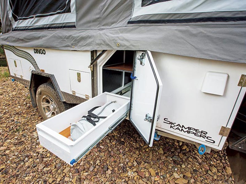 New Instead, A Folddown Aluminum Deck Attached To The Back Of The Hatch Door Slides Under The Tent To Provide A Flat, Solid Floor Above The Cold, Hard Ground  Access