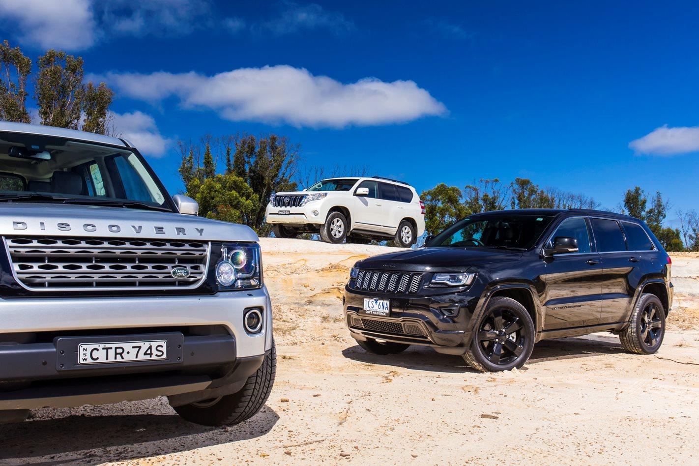 jeep grand cherokee vs land rover discovery vs toyota prado review 4x4 australia. Black Bedroom Furniture Sets. Home Design Ideas