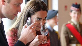 Prince William and Kate Middleton drinking whisky