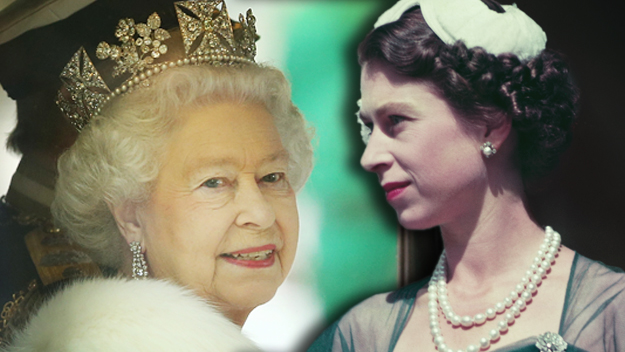 Queen Elizabeth II young and old