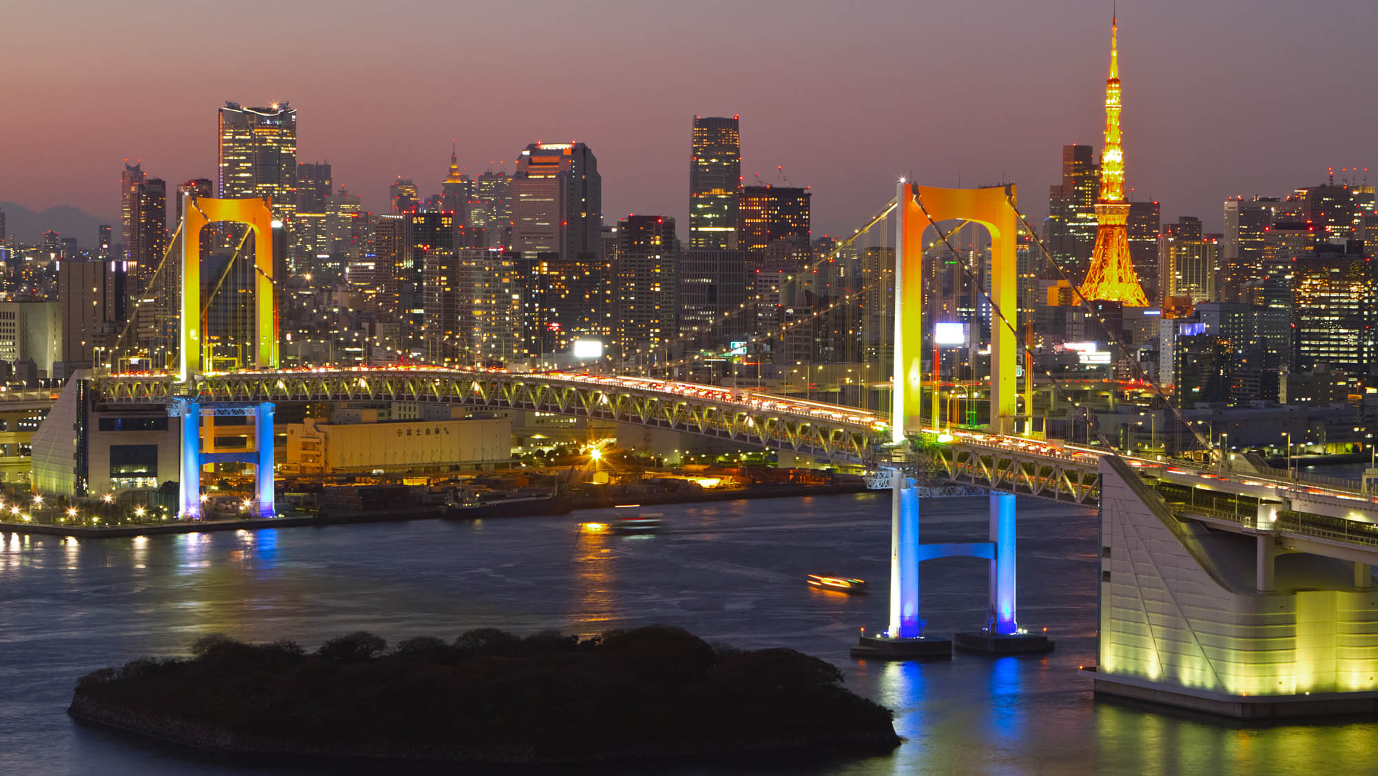 Bright lights: Tokyo's Rainbow Bridge and city skyline. Photo: Tokyo Convention & Visitors Bureau.