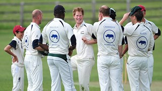 Prince Harry playing cricket
