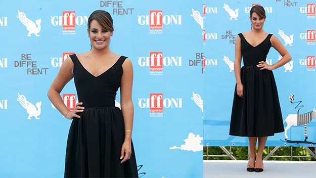 Lea Michele stuns in Audrey-style dress