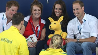 Prince William, Kate Middleton, and Prince Harry at the Comonwealth Games 2014