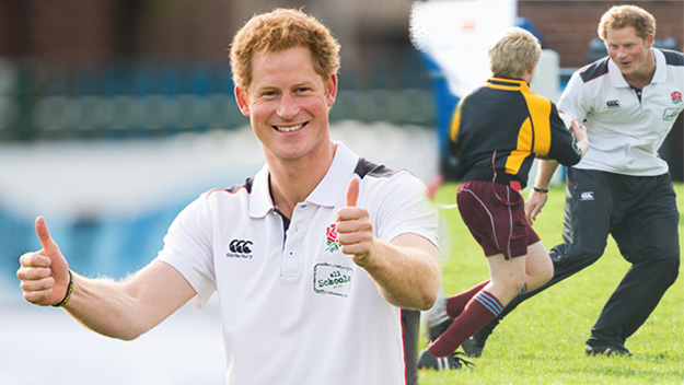 Prince Harry shows off rugby skills