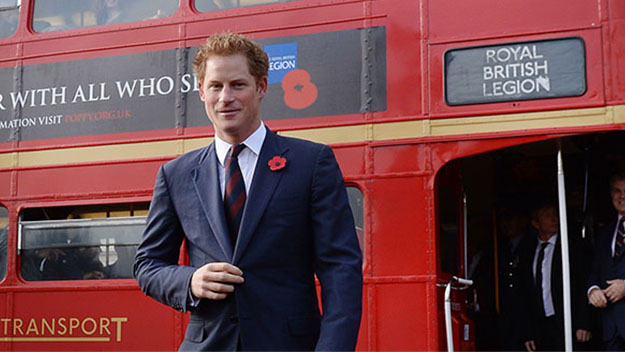 Prince Harry hops aboard London bus with stars for Poppy Day appeal