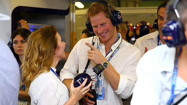 Prince Harry shares a laugh with Geri Halliwell at F1
