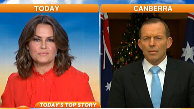 Channel Nine's The Today Show host Lisa Wilkinson interviews Prime Minister Tony Abbott.