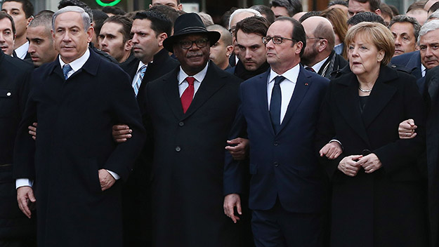 World leaders unite in Paris march for Charlie Hebdo attack