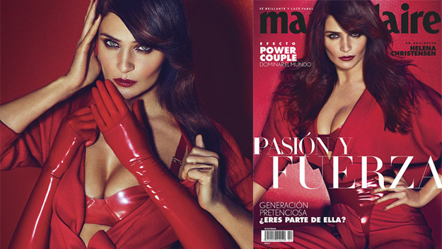 Supermodel Helena Christensen looks red hot on the cover of Marie Claire Mexico