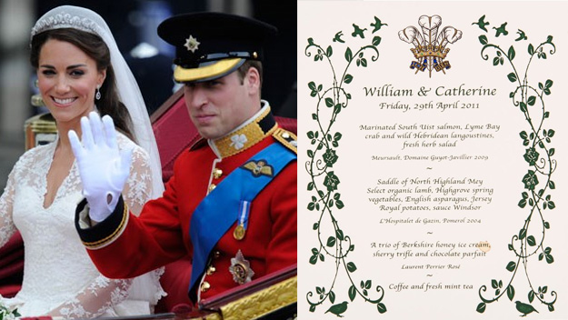 Prince William and Kate's wedding breakfast menu to be auctioned off