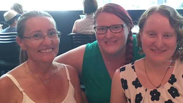 Reader Samantha Tough (centre) with her mother Gai Golder (left) and her sister Peta (right).