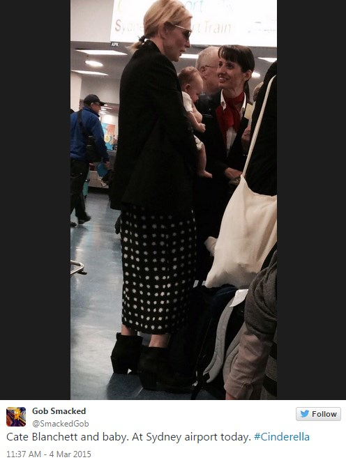 Cate spotted at the airport with baby Edith. The image was posted on Twitter this week.