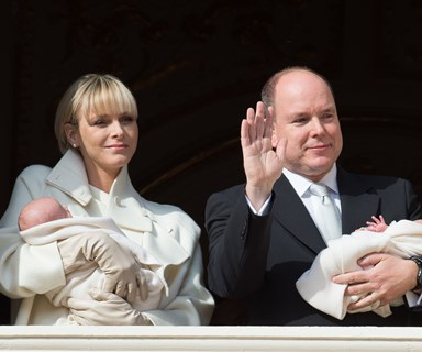 Princess Charlene and Prince Albert present their twins to Monaco