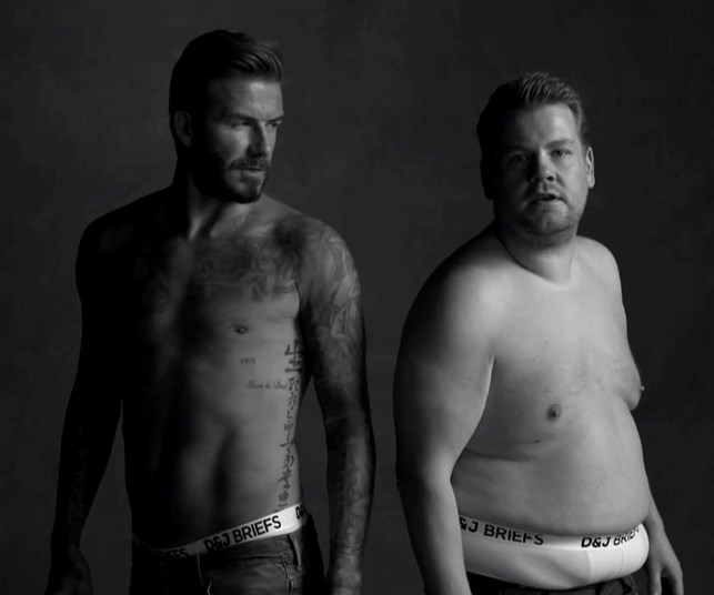 David Beckham and TV host James Corden strip down to their underwear for hilarious video