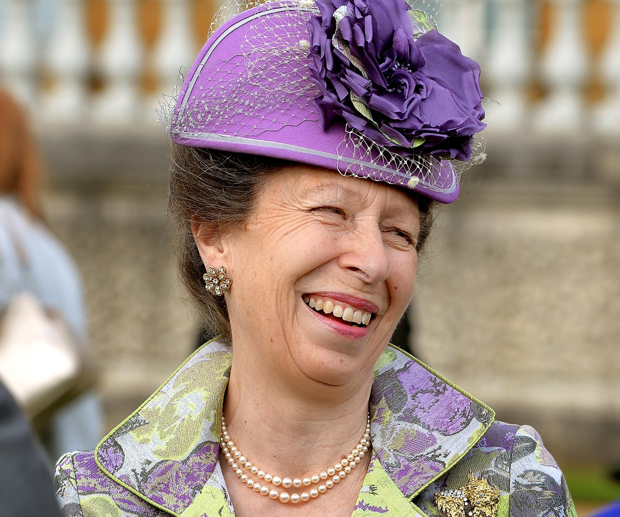 Guests at royal garden party treated to a rare Princess Anne smile