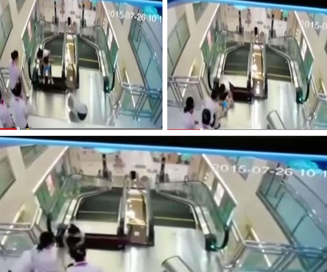 Woman dies in escalator collapse but manages to save son