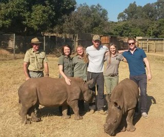 Prince Harry poses with rhinos in South Africa