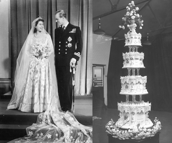 Queen Elizabeth and Prince Philip wedding and wedding cake