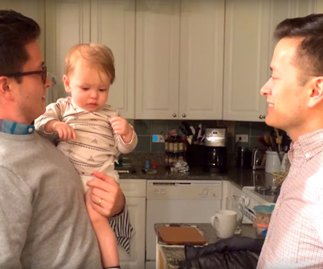 Watch adorable baby get confused by who's his dad