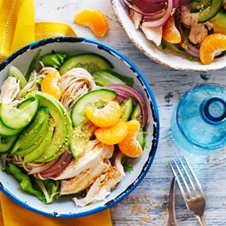 Avocado and mandarin chicken noodle salad