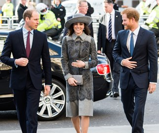 Kate, William and Harry step out with Queen
