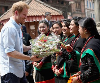 Five virgins welcome Harry to Nepal