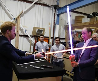 William and Harry's epic lightsaber duel