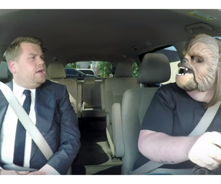 Happy Chewbacca mum drives James Corden to work