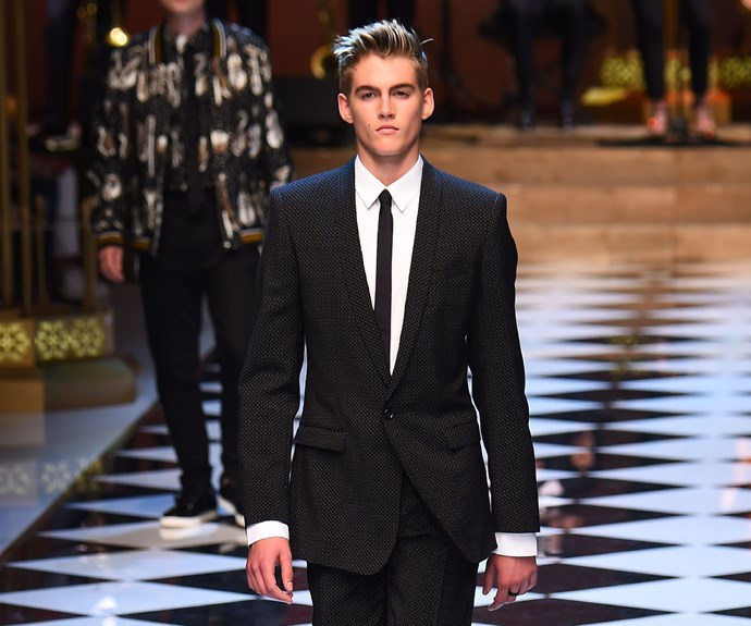 Cindy Crawford's son Presley takes after his mum on the runway