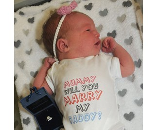 Newborn proposes to mum for dad